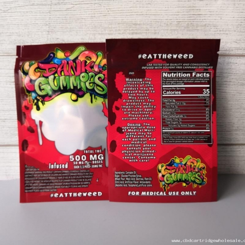 New dank Gummies Mylar Bag Edibles Candy ZipLock Worms 500MG Gummy Packaging